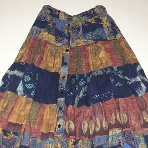 Maxi skirt Woman's medium brown multi colored boho